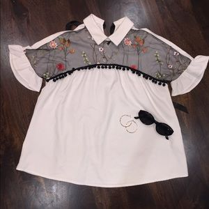 White and floral Illusion blouse